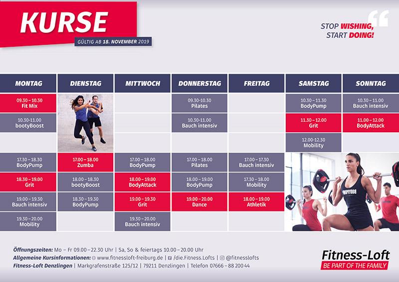 Der Kursplan im Fitness-Loft Denzlingen
