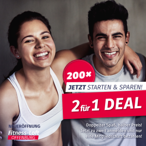 2 für 1 Deal im Fitness-Loft Offenburg
